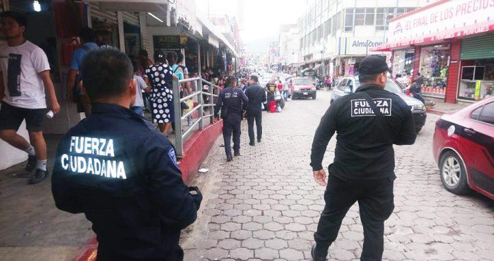 Operativo pie tierra desplegado por la SSyPC en el centro de Tuxtla, inhibe delincuencia