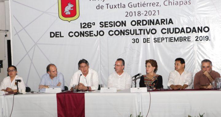 Destacan logros del gobierno municipal ante la 126ª Sesión Ordinaria del Consejo Consultivo Ciudadano