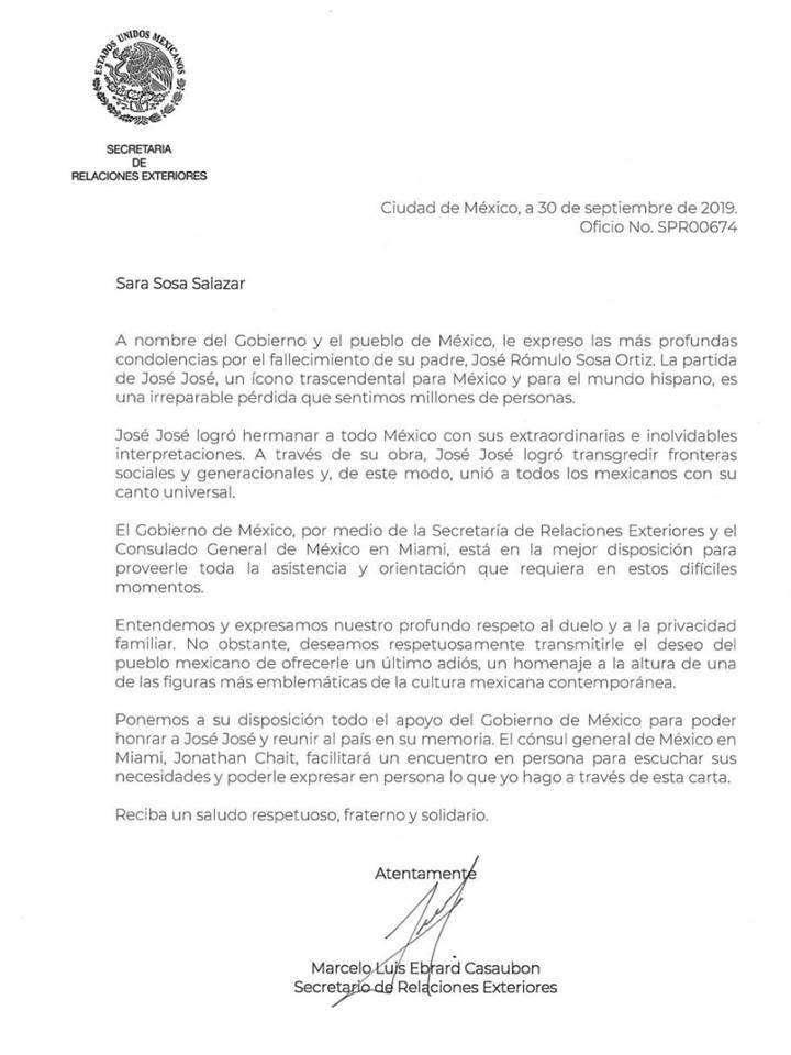La carta con la que Ebrard convenció a Sarita para traer cuerpo de José José