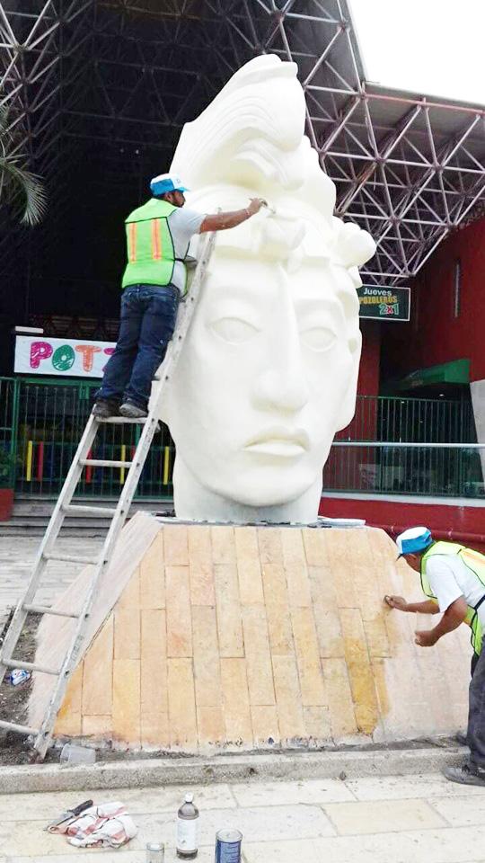Por fin regresa a su color y estado original la cabeza maya