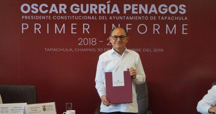 El Presidente Municipal, Dr. Óscar Gurría Penagos entregó su Primer Informe de Gobierno al Cabildo Tapachulteco