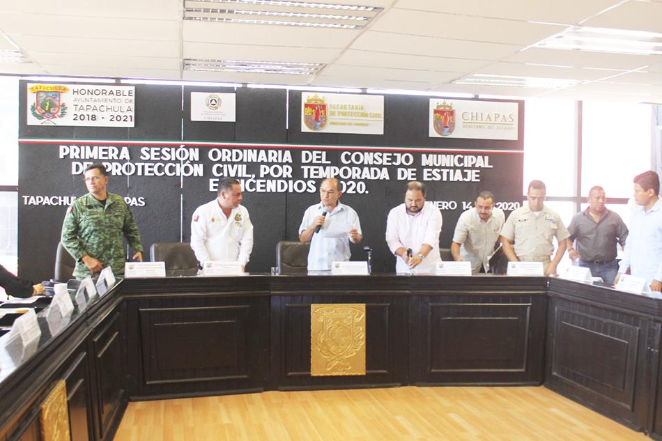 Alcalde Óscar Gurría encabeza 1a. Sesión Ordinaria del Consejo Municipal de PC