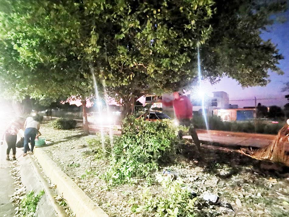 Por indicaciones del Dr. Gurría Penagos, parques y jardínes trabaja día y noche