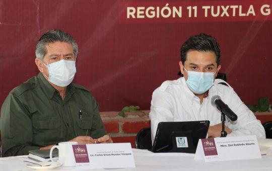 Comparte Zoé Robledo avances de vacunación Covid-19 a presidentes de la Mesa de Seguridad Región 11 Metropolitana