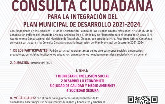 Inicia Consulta Ciudadana para integrar el Plan Municipal de Desarrollo 2021-2024 en Tapachula